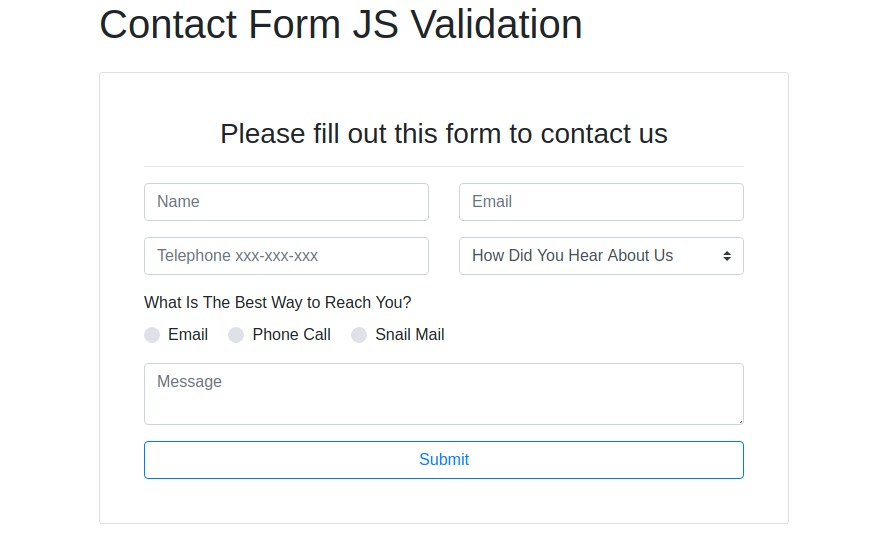 Contact Form JavaScript Validation